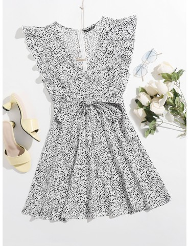 All Over Print Ruffle Trim Belted Dress