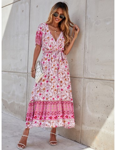 Allover Floral Print Puff Sleeve Dress With Belt