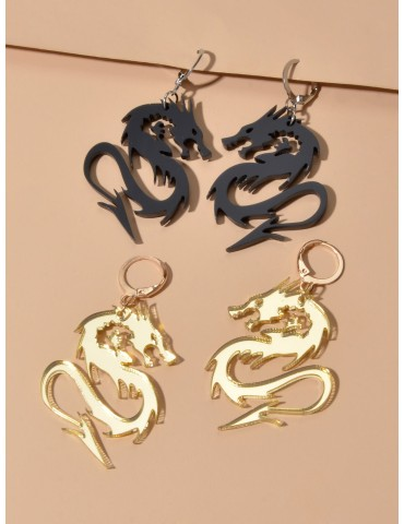 2pairs Chinese Dragon Charm Drop Earrings