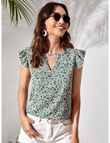 Ditsy Floral Keyhole Blouse