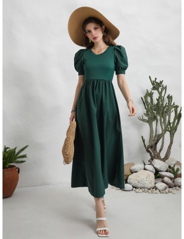 Solid Puff Sleeve A-line Dress