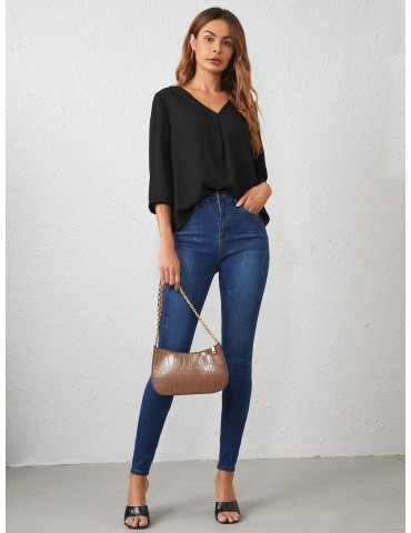 V-neck Lace Insert Solid Top